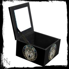 This beautifully detailed mirror Box is brought to you from the untamable mind of Gothic artist Lisa Parker. It depicts a lone wolf staring out into the distance and would be the perfect way for all fans of wolves to keep jewellery safe. Lisa Parker, Mirror Box, Jewellery Boxes, Keep Jewelry, Wild Ones, Wolves, A Wolf, Wolf, Timber Wolf