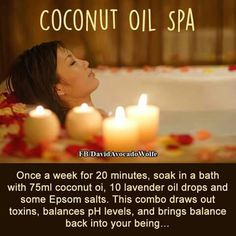 Coconut oil will soften your skin. Lavender will make you relax. Epson salt contains magnesium and will be absorbed through the skin and will ease your muscle pains. Plain and simple. No detox nor pH leveling in here. But it will relax you.....maybe some of the people leaving nasty comments here should turn their computer off and go take a bath.....