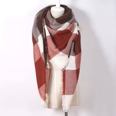 Tuila Winter Plaid Scarf Cashmere Scarves for Women