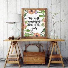 The Most Wonderful Time Of The Year Quote, Christmas Quote, Christmas Decor, Christmas Print, Printable Wall Art, Instant Download