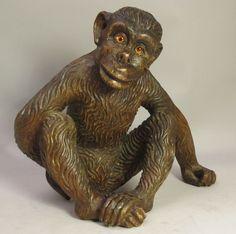 Fine & Large Antique Hand-Carved Wood Monkey w/ Glass Eyes  c. 1920   Folk Art