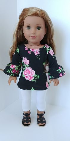 Excited to share the latest addition to my #etsy shop: 18 inch doll clothes. Fits like American girl .18 inch doll clothing.Black Floral tunic and Leggings #toys #dollclothes #black #shirts #pink #18inchdolloutfit #18inchdollclothes #dollclothing https://etsy.me/2q43sNM