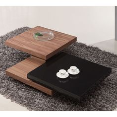 Iva Black/Walnut Rotating Coffee Table - Wooden Coffee Tables, Coffee Tables