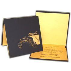 Invitación elegante con negro y detalles dorados