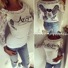 Ali di angelo stampato delle donne del merletto della maglietta 2015 autunno sexy  Top shirt moda donna casual manica lunga t shirt spedizione  Libero(China (Mainland))