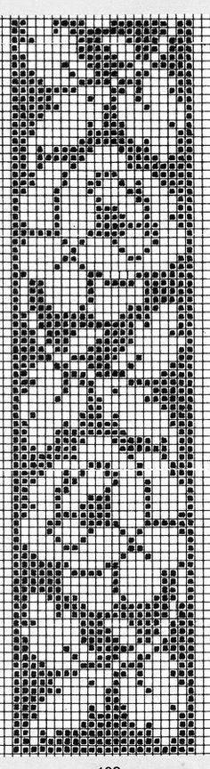 Designed for cross stitch, but it would make a nice filet crochet border. Filet Crochet Charts, Crochet Borders, Crochet Cross, Knitting Charts, Knitting Stitches, Knitting Patterns, Crochet Patterns, Cross Stitch Bookmarks, Crochet Bookmarks