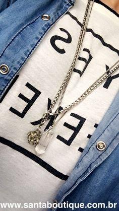 Acessório colar longo pedra corrente Maxi @santa_boutique riodejaneiro Copacabana