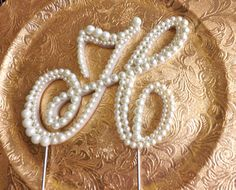 Ivory Pearl Cake Topper Monogram by ParisBakeryPretties on Etsy, $55.00