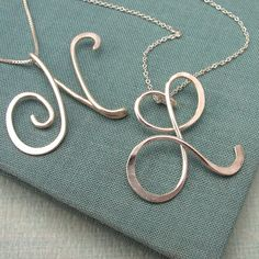 Calligraphy Initial Necklace in sterling silver. $65.00, via Etsy.