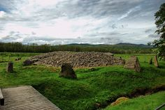 The ring of standing stones surrounding Corrimony Cairn, Inverness-shire, Scotland.