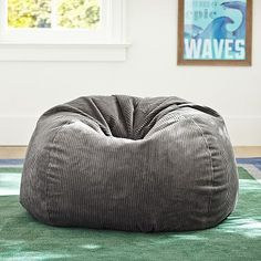 Charcoal Wide Wale Cord Beanbag #pbteen
