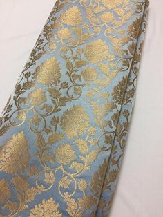 Gold Floral Paisley Silky Brocade Bow Handmade Double Sided