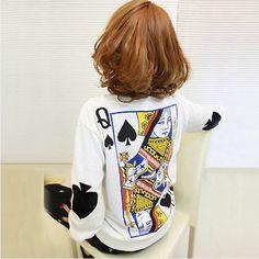 Q Spades Poker Big Yards Loose Long-Sleeved Sweater