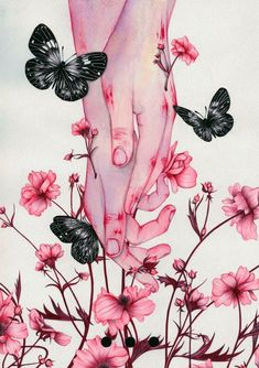 Colored pencil watercolor artwork drawing illustration of hands in pink flowers and butterflies Art And Illustration, Landscape Illustration, Main Manga, Art Sketches, Art Drawings, Hand Kunst, Art Noir, Hand Art, Aesthetic Art