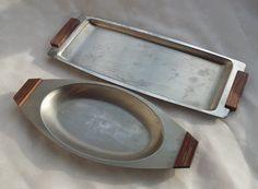 Set of Two Wood Handled Trays Minimalist by TymelessTrinkets