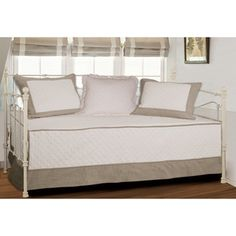Brentwood Quilted Ivory/Taupe 4-piece Daybed Set | Overstock.com Shopping - The Best Prices on Daybed Covers