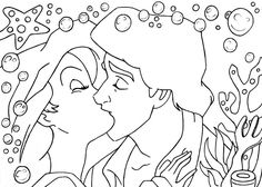 -Kiss Ariel and Eric lineart-