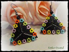 ESTHER CRISTAL: Pendientes triángulos delicas #beadwork