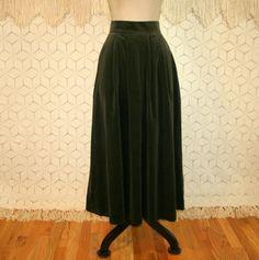 Green Velvet Maxi Skirt High Waist Long Green by MagpieandOtis