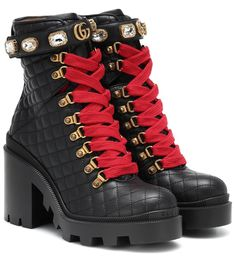 The distinctly grunge tone of these combat boots from Gucci is countered – or enhanced – by the opulent crystal embellishment and golden GG branding at the ankle. Crafted in Italy from supple black leather with a quilted . Leather Ankle Boots, Calf Leather, Heeled Boots, Shoe Boots, Shoes Heels, Ankle Combat Boots, Black Leather, Buy Shoes, Me Too Shoes