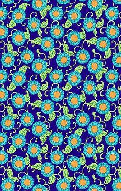 "Amy Butler ""Lark""    Button Flowers navy"