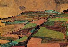 Egon Schiele,  Field Landscape, 1910 on ArtStack #egon-schiele #art