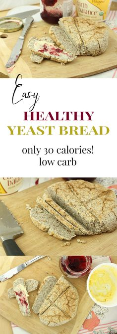 Bread. 30 calories a slice. THIS IS MY FAVORITE RECIPE EVER. This amazing yeasted bread is ready in under an hour and it just tastes so good. Plus, it's vegan, gluten free, paleo, and low carb!