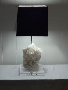 """""""Diana"""" is made from a stunning piece of White Quartz and comes with a black silk shade. Custom made by Crystal Luxe Lighting PLUS!"""