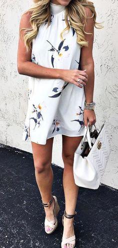 cool ootd printed dress + bag + heels