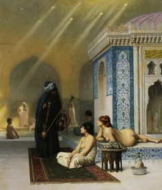 Jean-Léon Gérôme  Harem Pool. oil on canvas, 73.5 x 62 cm. Hermitage Museum, Saint Petersburg, RU