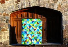 Justin's half square triangle quilt by greenleaf goods, via Flickr
