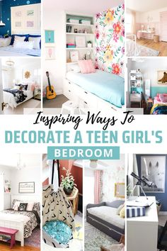 Inspiring Ways To Redecorate A Teen Girls Bedroom - - Inspiring ideas for creating a stylish space for your teenager. These teen girl's bedroom ideas are sure to help you transform her room into something fun! Small Room Bedroom, Small Rooms, Girls Bedroom, Master Bedrooms, Bed Room, Kids Rooms, Cheap Office Decor, Cheap Home Decor, Bedroom Themes