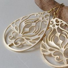 Gold Earrings // Karma Gold Filigree Peacock Gold by PeriniDesigns, $24.00