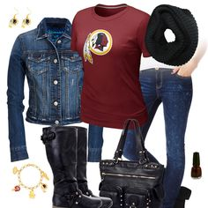 Washington Redskins Jean Jacket Outfit Redskins Gear 926b90232