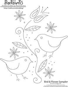 Best Photos of Bird Hand Embroidery Patterns - Free Bird Embroidery Pattern, Free Crewel Embroidery Pattern and Free Hand Embroidery Pattern Embroidery Designs, Bird Embroidery, Embroidery Patterns Free, Vintage Embroidery, Cross Stitch Embroidery, Bird Patterns, Embroidery Sampler, Red Work Embroidery, Machine Embroidery