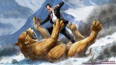 Richard Nixon fighting a Saber Tooth Tiger by SharpWriter.deviantart.com on @deviantART