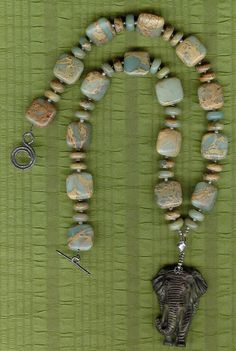 Forget Me Not  Carved Ribbon Jasper Elephant by ChicStatements, $85.00