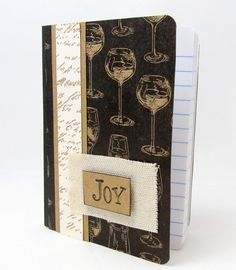 Mini Wine Journal  Vintage Mini Journal  Mini by PrettyByrdDesigns
