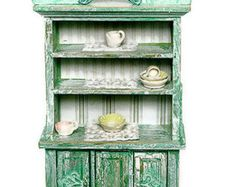 Green Buffet 1:12 Dollhouse Miniature Vintage Art Decor Shabby Chic French Style Home Decor