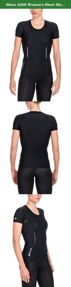 Skins A200 Women's Short Sleeve Compression Top, Medium, Black/Black. Getting the body you want just got easier with SKINS scientifically proven sports compression clothing – simply slip into a SKINS A200 Women's Short Sleeve Compression Top. Available in a range of sizes and seasonal catwalk-inspired colors, it will flatter your body and hold in any wobbly bits.Our unique scientifically proven engineered gradient compression improves circulation, getting more fresh oxygen to your muscles...
