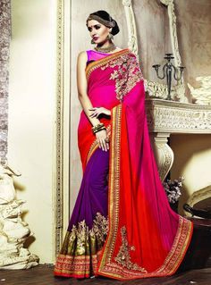 Buy Red Georgette Party Wear Saree 75994 with blouse online at lowest price from vast collection of sarees at m.indianclothstore.c.