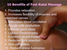 What are the benefits of post natal massage