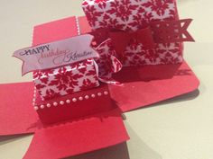 Red and white birthday explosion box card with damask design