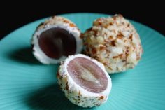 Goat Cheese-Covered Grapes  Grapes, soft goat cheese rolled in crushed almonds