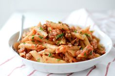 Whole Wheat Penne with Italian Sausage Tomato Sauce | Whole Wheat Pasta Recipe | Italian Sausage Recipe | ateaspoonofhappiness.com