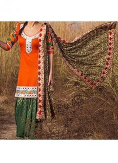 Orange Green Brocade Cottin Satin Punjabi Salwar Kameez With Phulkari at Zikimo