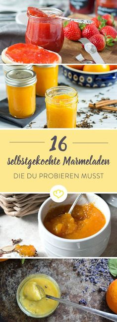 20 Ideen für selbstgemachten Aufstrich When strawberries, apples, blueberries or oranges slowly boil down and merge with spices into a wonderfully fruity jam, this not only fills th Jam Recipes, Sweet Recipes, Drink Recipes, Chutneys, Tasty, Yummy Food, Vegetable Drinks, Macaron, Diy Food