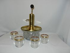 Park Sherman Brass Pump Decanter and Glasses
