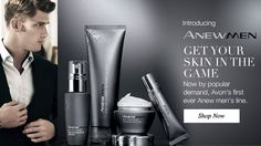 Introducing Anew Men-Get Your Skin In The Game An AVON first ever men's skincare line.