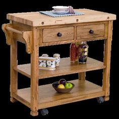 Sedona Butcher Block Kitchen Island Table w/Casters 2178RO